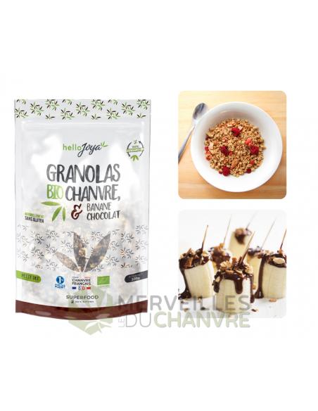 Granola bio chanvre & banane-chocolat 300g   CBD & Chanvre