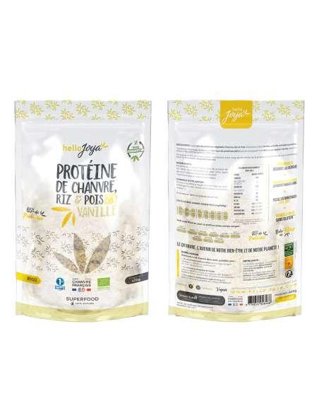 Protéine de chanvre bio riz et pois à la vanille 400g   CBD & Chanvre